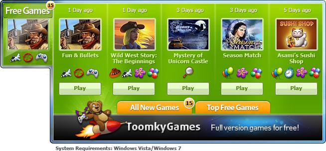 ToomkyGames.com Windows Gadget screenshot